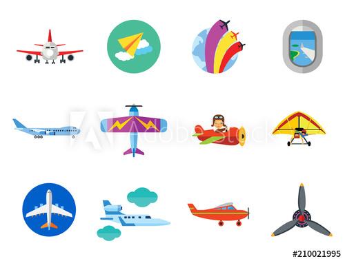 Icon set air show. Jet clipart glider plane