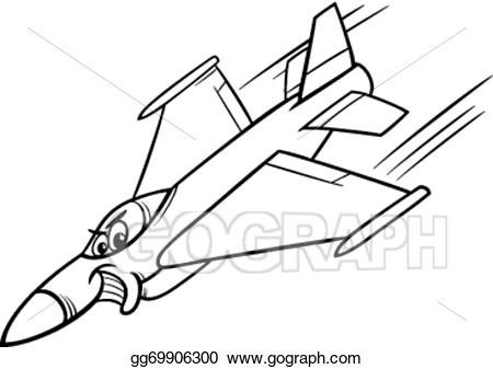 Jet clipart line art. Vector fighter plane coloring