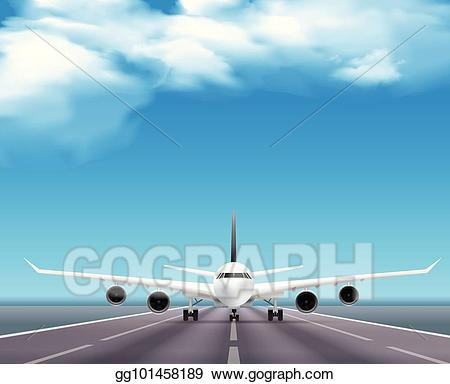 Vector airplane on runway. Jet clipart realistic