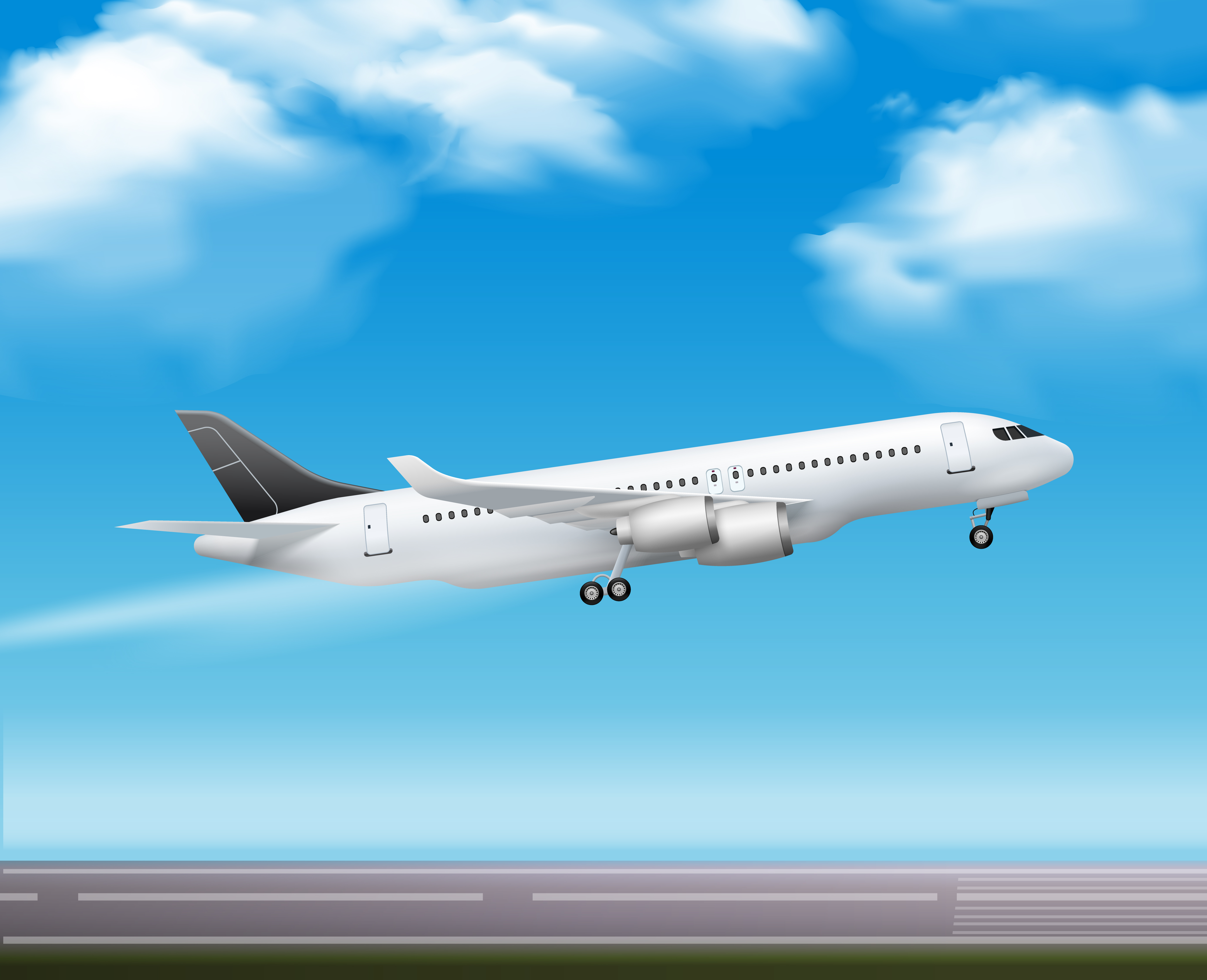 Passenger airliner takeoff poster. Jet clipart realistic