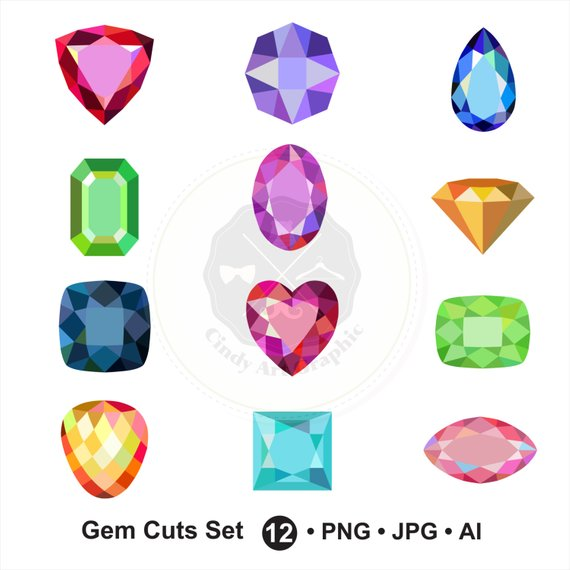 Jewel clipart. Gem cuts set diamond