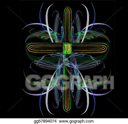 Jewel clipart neon. Drawing fractal crucifix showing