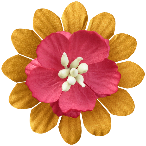 Flower layered yellowpink png. Jewel clipart red jewel