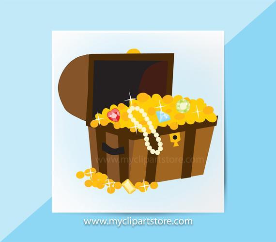 Single pirates jewels gold. Jewel clipart treasure chest