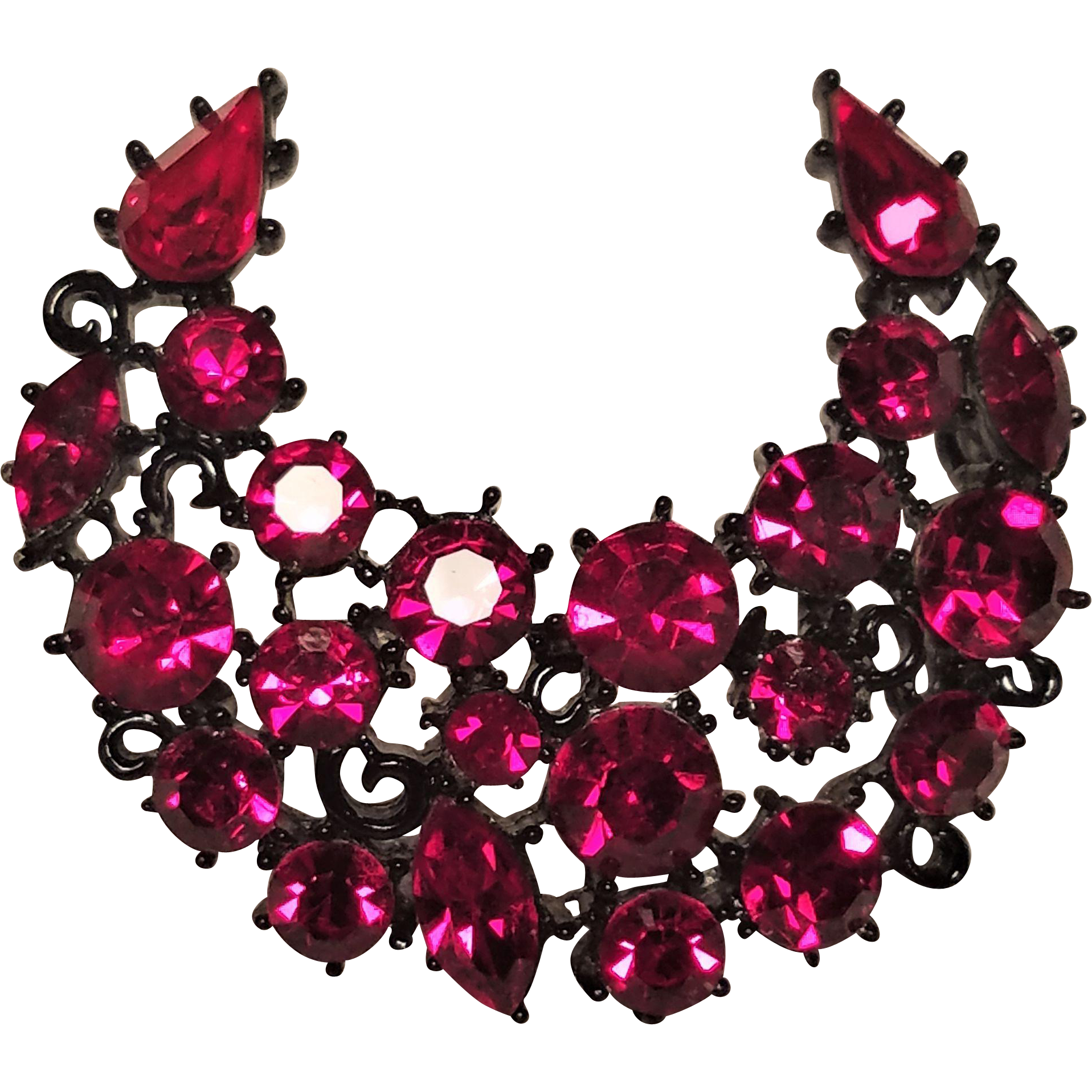 Jewel clipart vintage jewelry. Lisner red rhinestone crescent