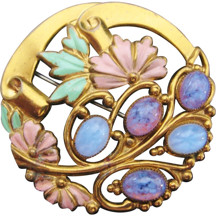 Brass and enamel pin. Jewel clipart vintage jewelry