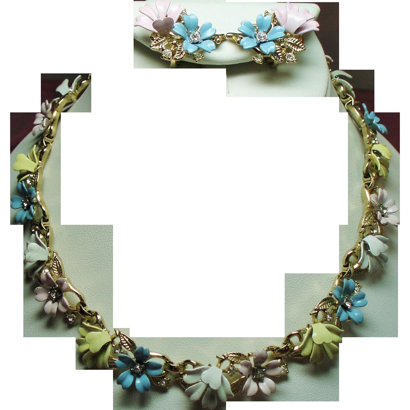 Trifari fleurette pastel enamel. Jewel clipart vintage jewelry