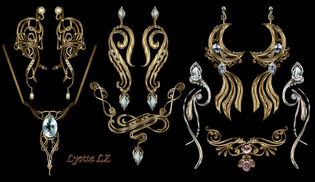 Jewel clipart vintage jewelry. Earrings necklaces by lyotta