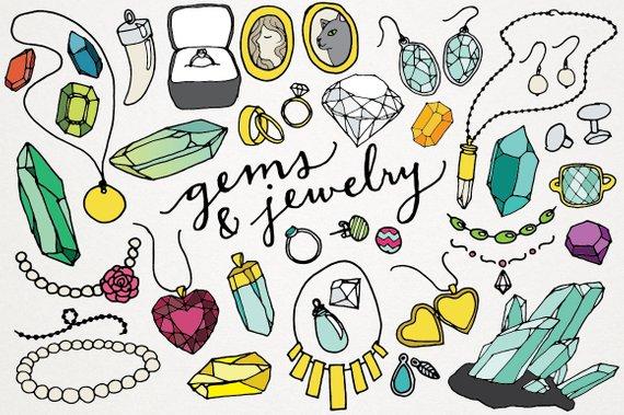 Gems and jewelry logos. Gem clipart clip art