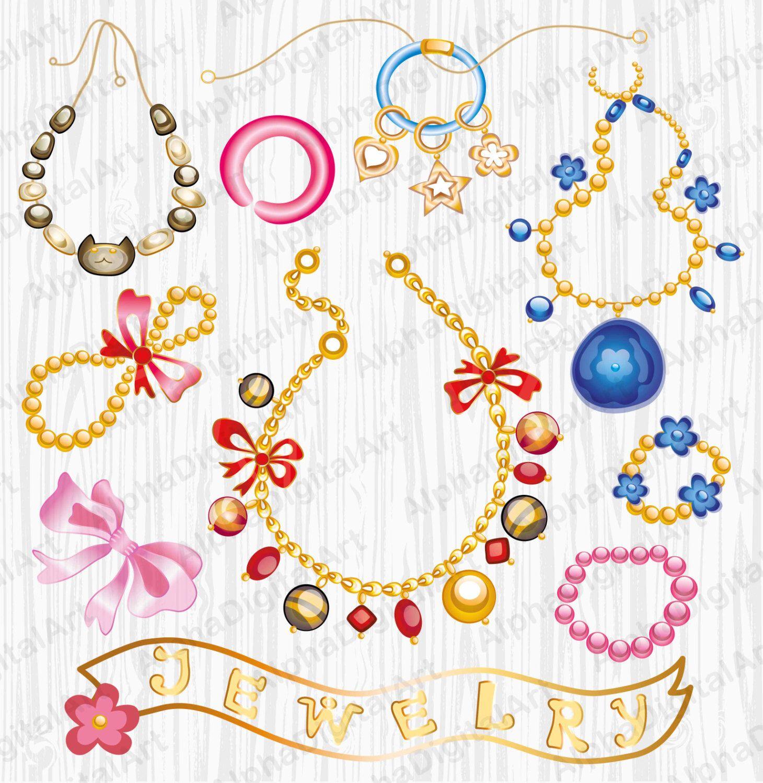 Jewelry clipart.  gem rings digital