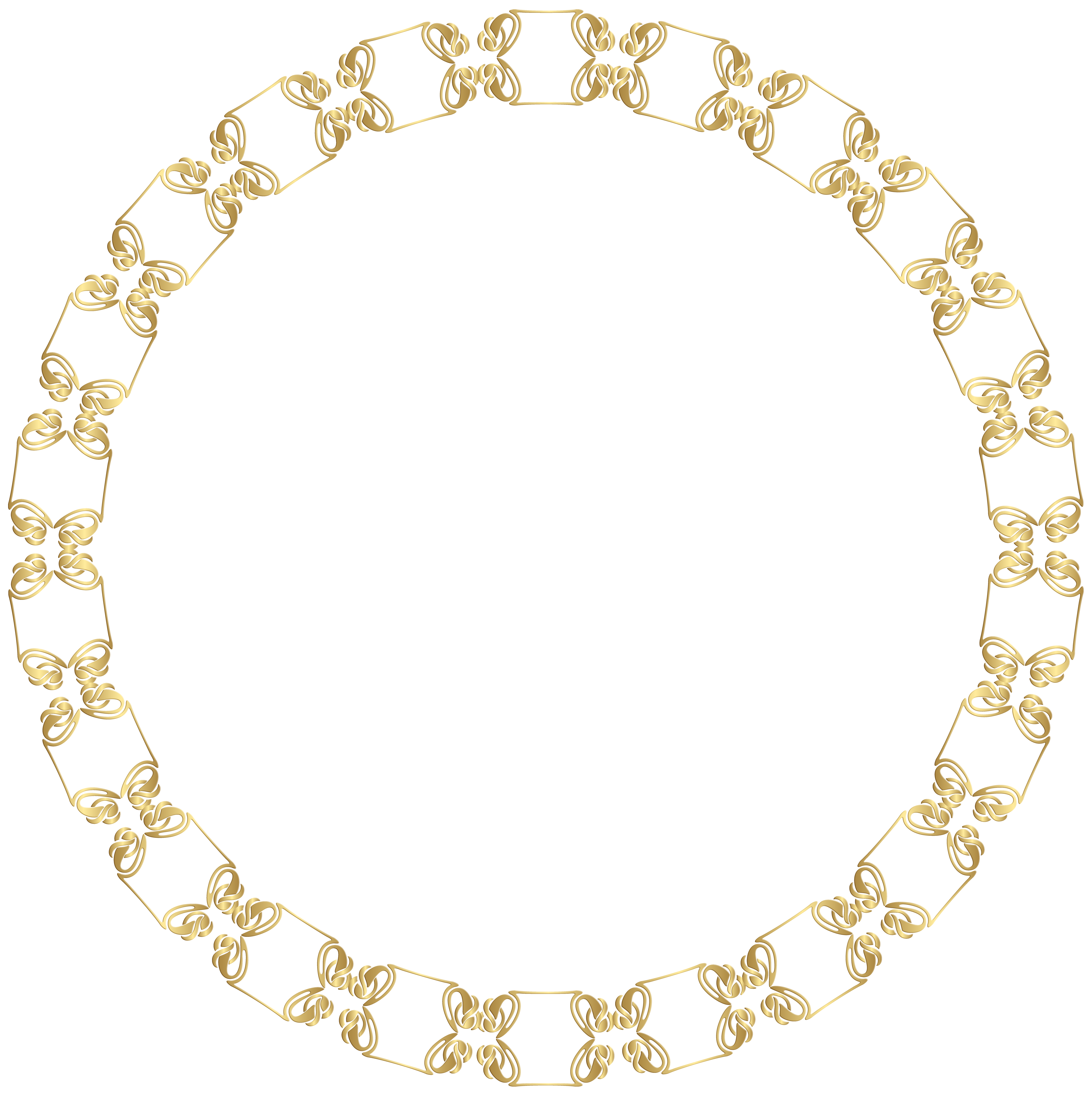 Border frame png clip. Necklace clipart round gold