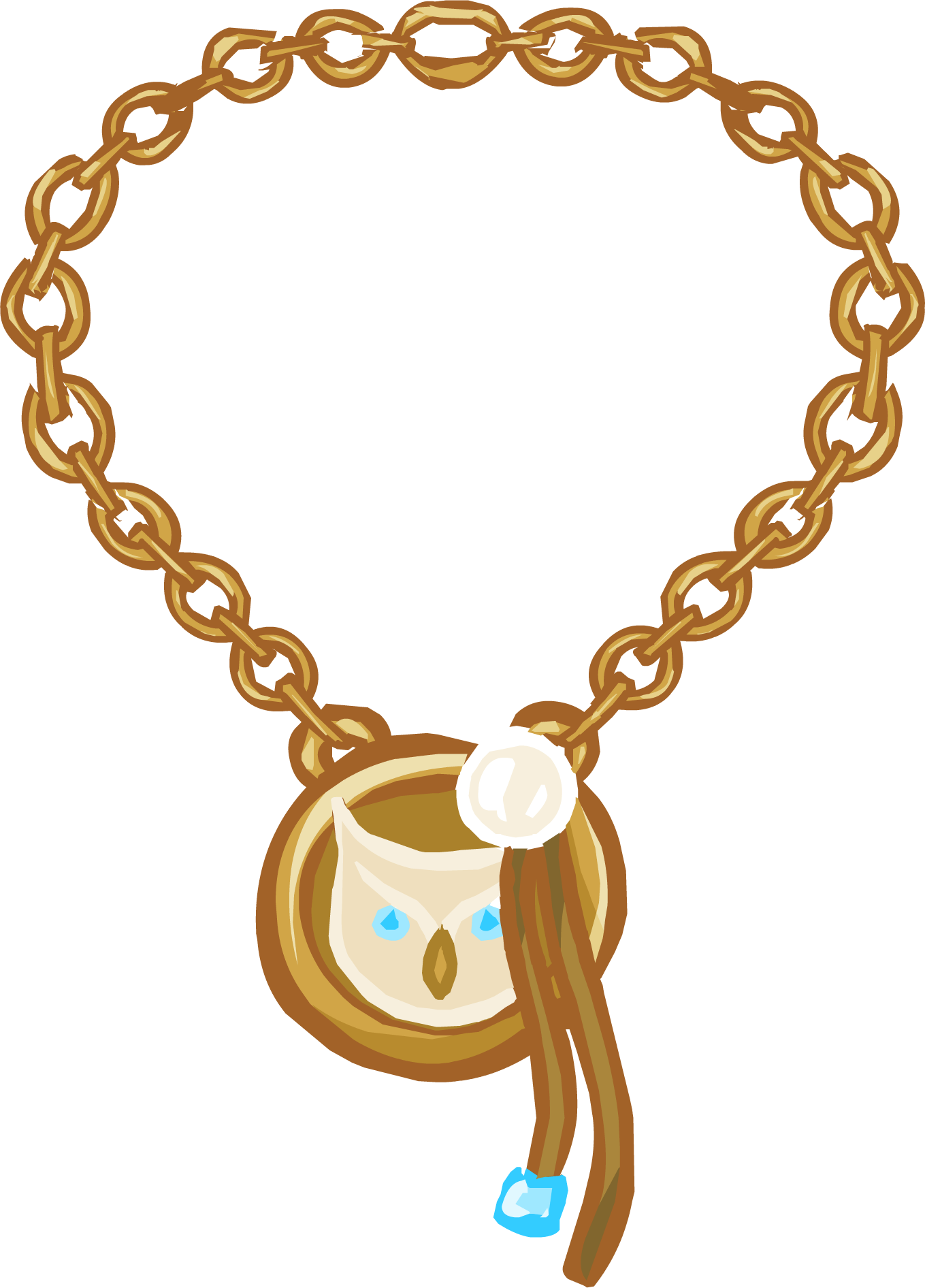 Necklace clipart closed neck. Gold charm club penguin