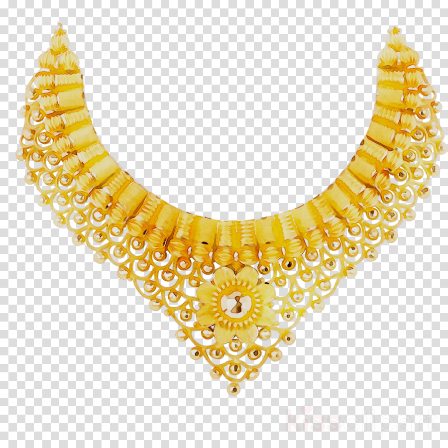 Gold yellow transparent . Necklace clipart golden necklace
