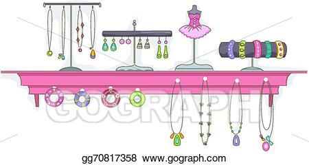 Jewelry clipart jewelry display. Eps illustration shelf vector