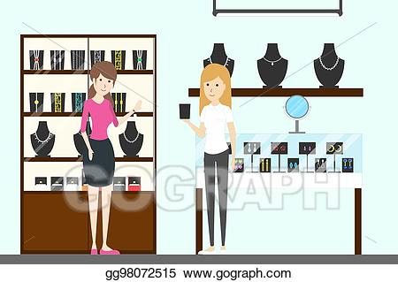 Jewelry clipart jewelry shopping. Vector store interior illustration