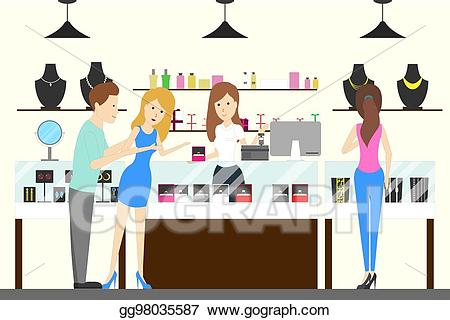 Vector interior illustration . Jewelry clipart jewelry store
