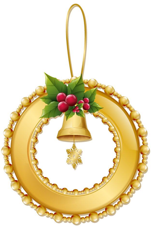 Christmas gold wreath with. Ornaments clipart jewllery