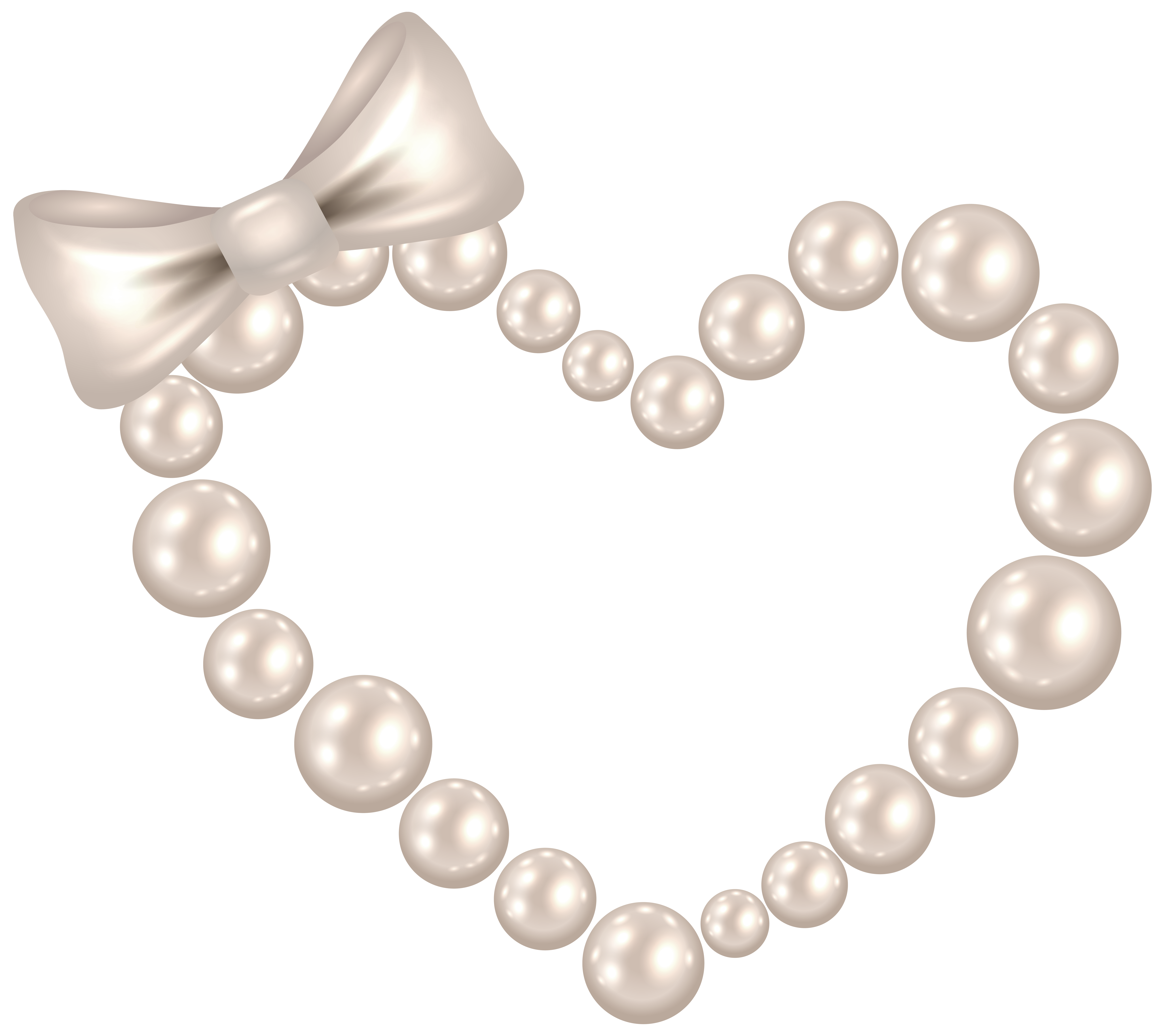 Heart with bow transparent. Necklace clipart pearl necklace