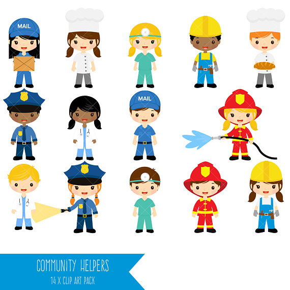 Community helpers job clip. Careers clipart cute