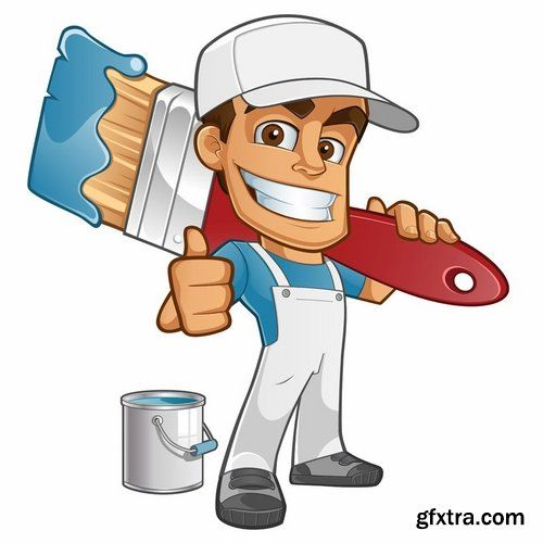 Collection of vector cartoon. Painter clipart needed