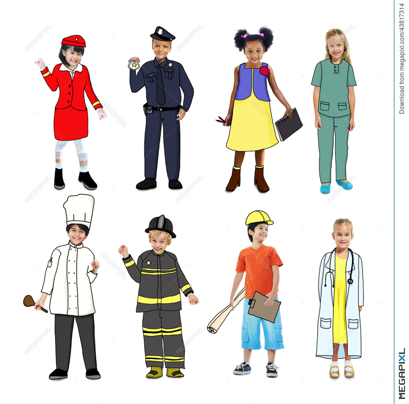 Jobs clipart uniform. Group of children wearing