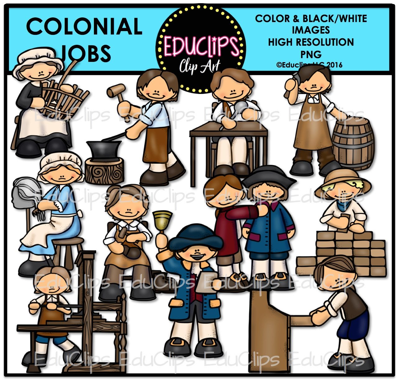 Colonial clip art bundle. Jobs clipart