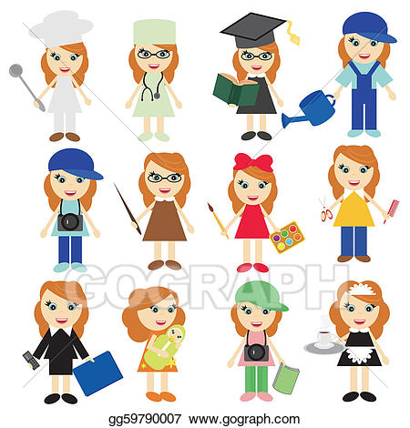 Eps illustration different girls. Jobs clipart
