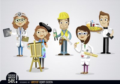 Jobs clipart. Free people working in