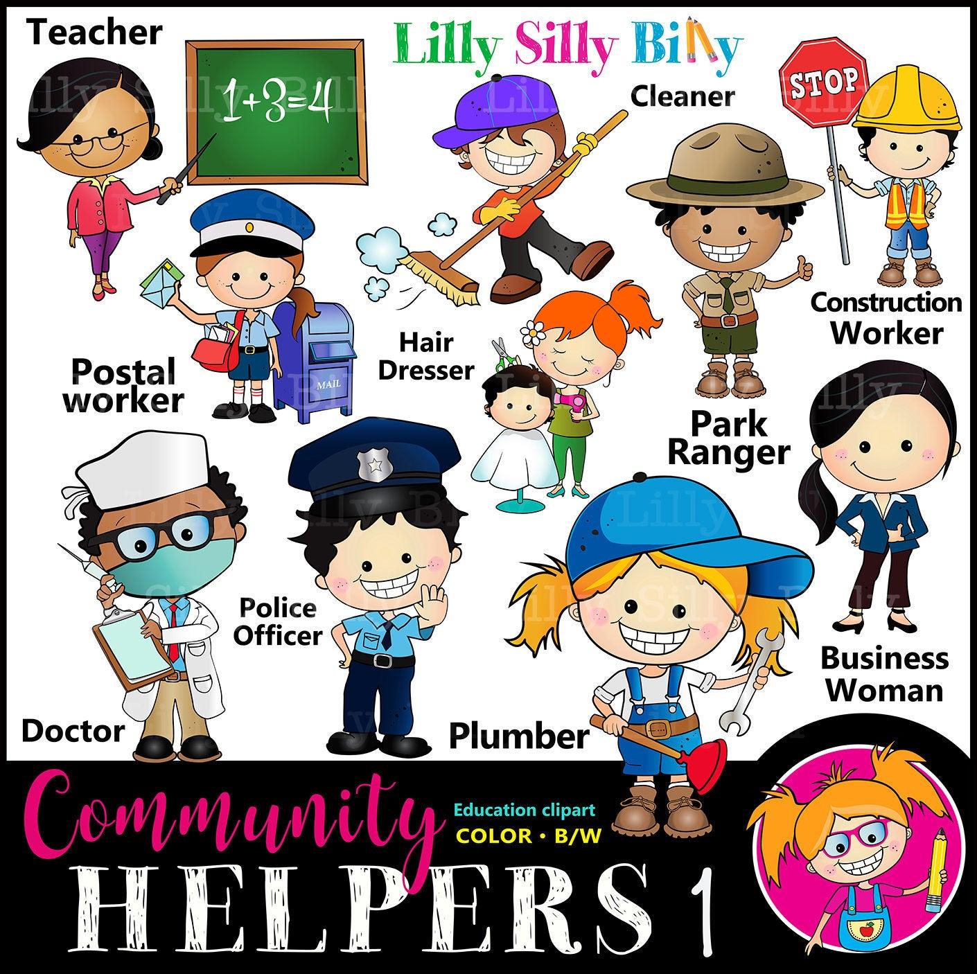 Helpers set for careers. Jobs clipart community worker