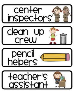 Jobs clipart first job. Cute classroom helper labels
