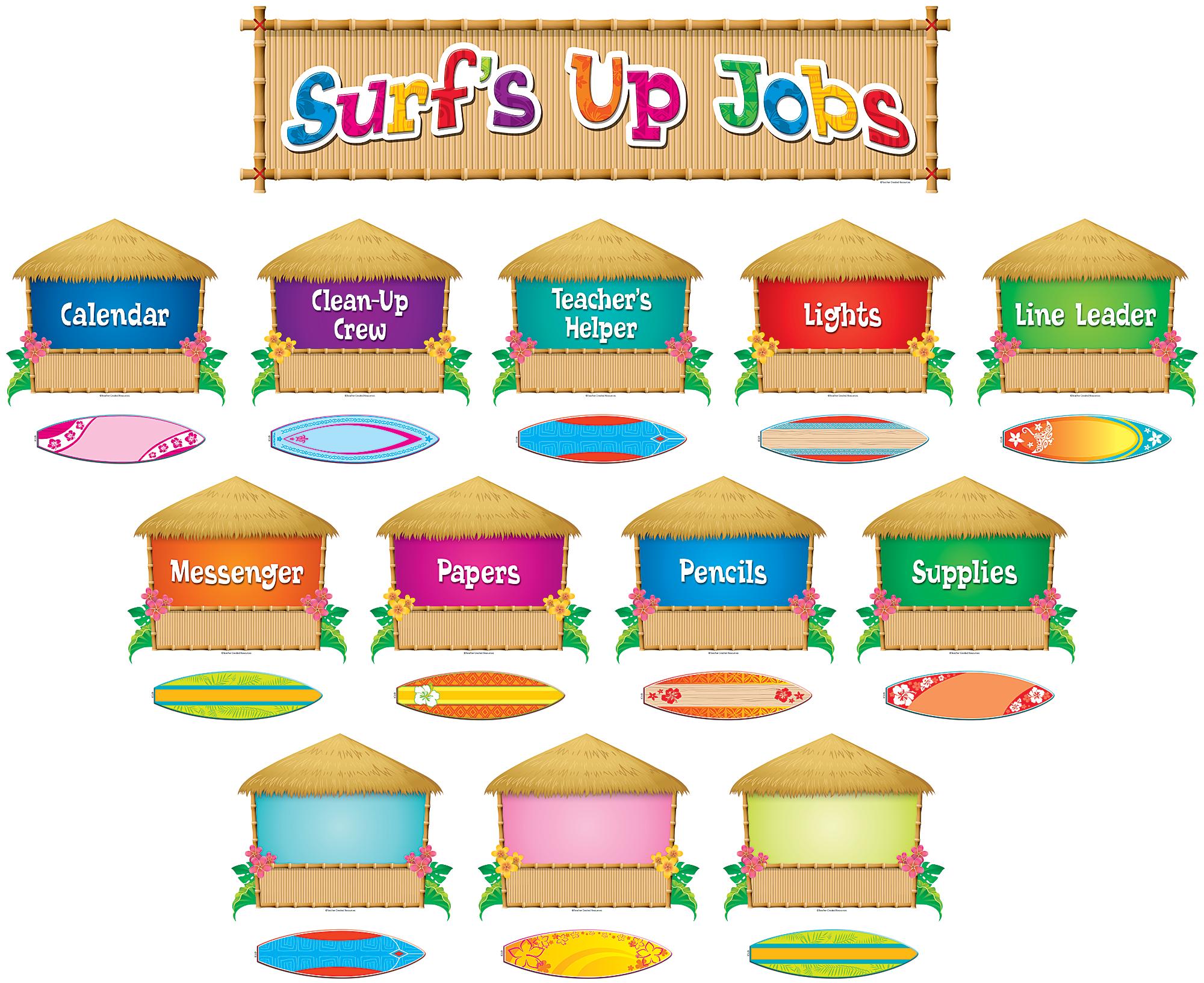Surfs up mini bulletin. Jobs clipart student job