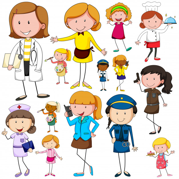 Jobs clipart woman job. Doing different nohat