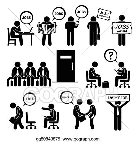 Vector man looking job. Jobs clipart workplace