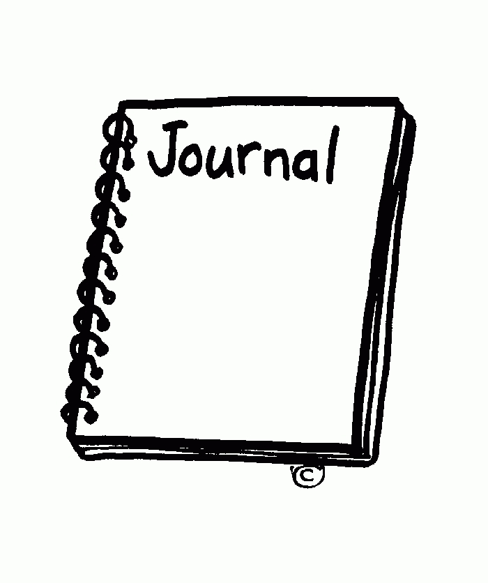 Journal clipart. Black and white letters