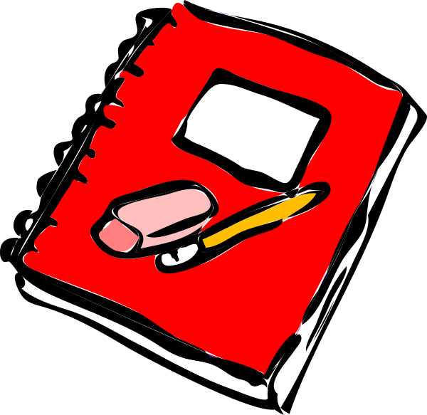 Journal clipart. Red with pencil clip