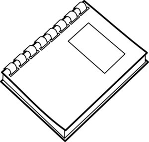 Notebook clipart outline. Journal black and white