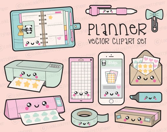 Premium vector kawaii planning. Planner clipart printable