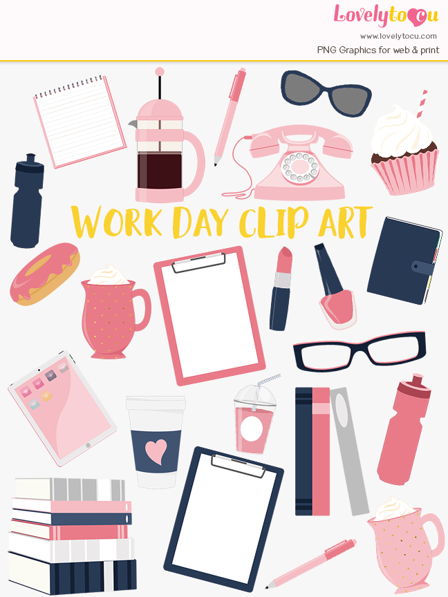 Journal clipart design. Working girl diy art