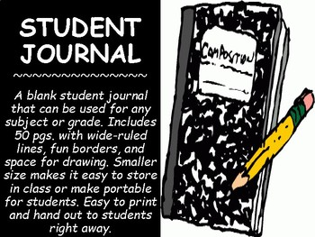Journal clipart english journal. Blank student writing