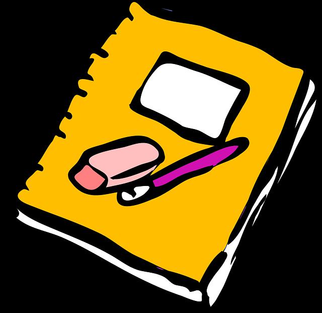 Free notebook public domain. Journal clipart notbook
