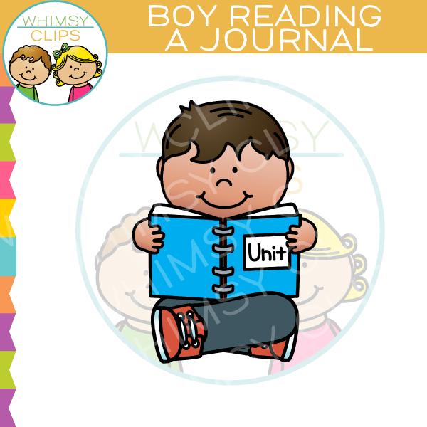 Boy clip art . Journal clipart reading journal