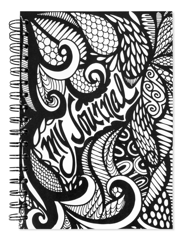 My black and white. Journal clipart spiral journal