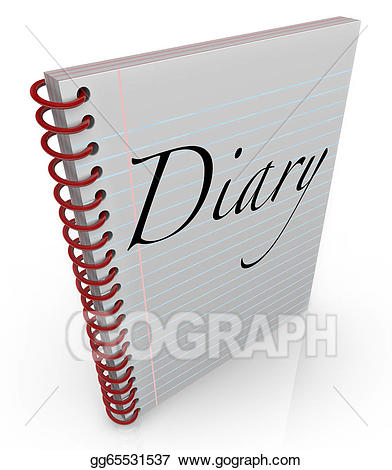 Stock illustrations diary spiral. Thoughts clipart memoir