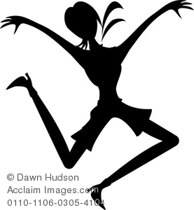 Image of silhouette figure. Joy clipart