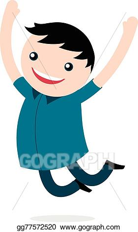 Young clipart excited boy. Vector jumping for joy