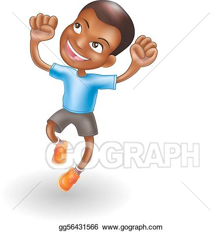 Vector young boy jumping. Joy clipart energetic