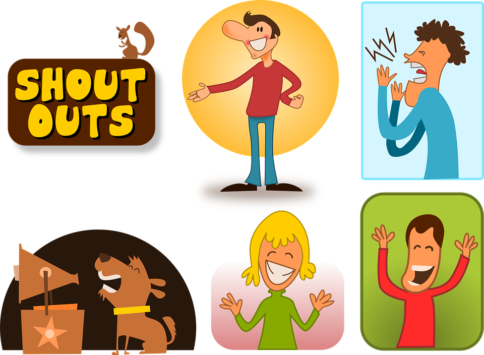 In between happy people. Yelling clipart shouted