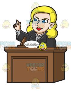 A ordering the court. Judge clipart female judge