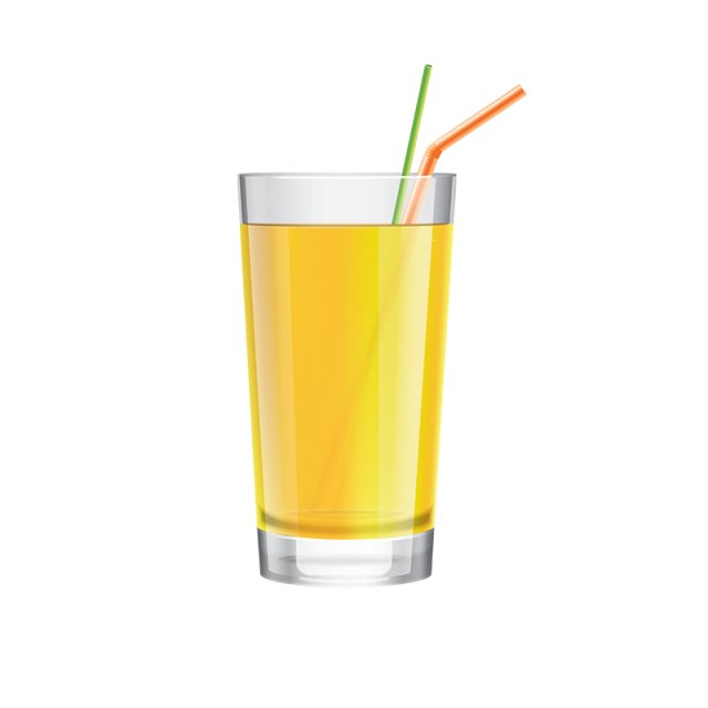 Juice with cocktail straw. Pineapple clipart glass