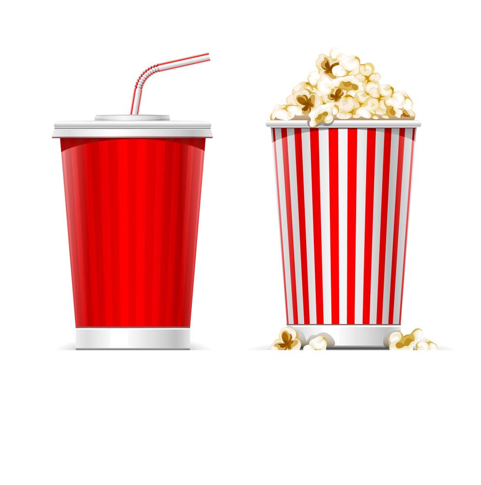 Soft drink popcorn slush. Movie clipart coke